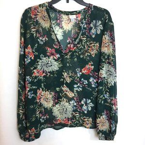 A New Day Split Neck Green Floral Long Sleeve Top